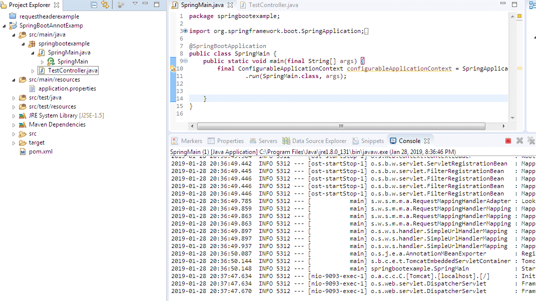 SpringBootApplication annotation example in Spring Boot